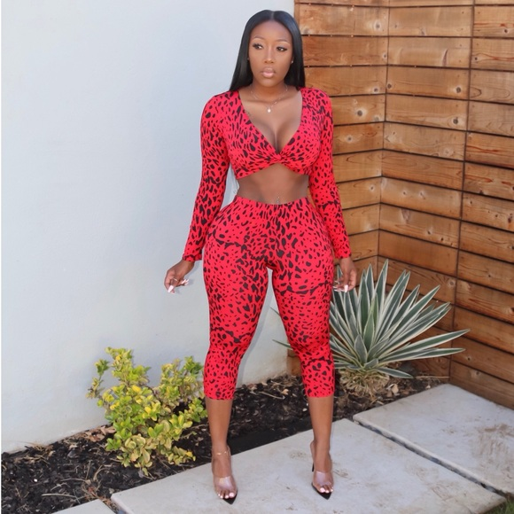 37fc9bb167065 Pants | Sold Out Red Leopard Print Top Set | Poshmark